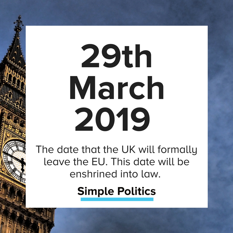 We leave the EU on 29th March 2019